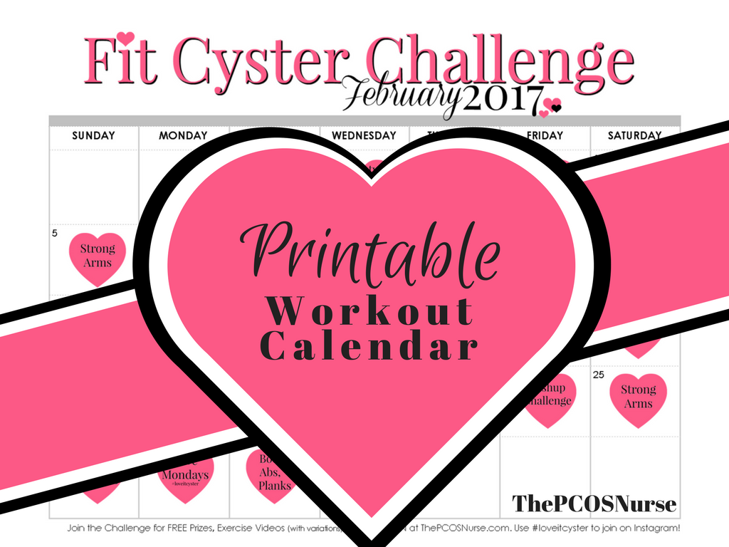 PCOS Workouts: February Fit Cyster Challenge Calendar + Exercise Demonstrations