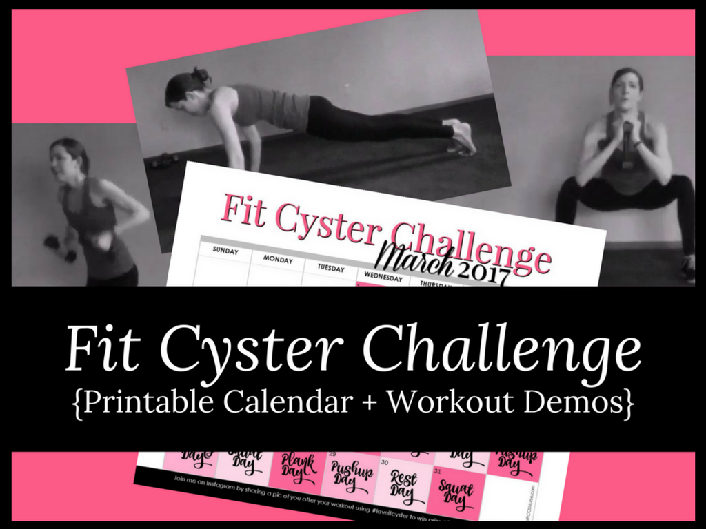 PCOS Workouts: March Fit Cyster Challenge Calendar + Exercise Demonstrations