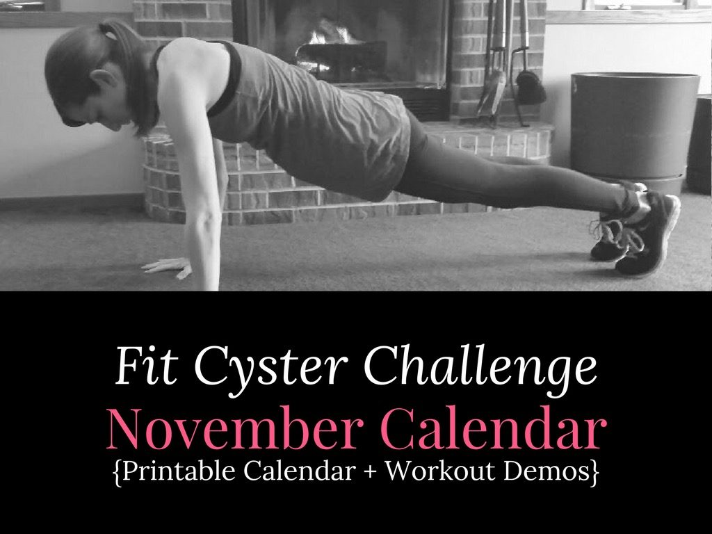 PCOS Workouts: November Fit Cyster Challenge Calendar + Exercise Demonstrations