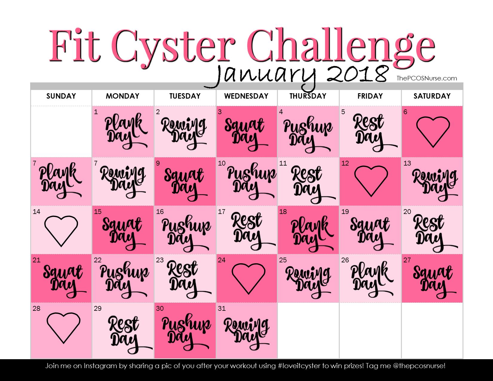 Protected January 2018 Workout Calendar